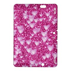 Hearts On Sparkling Glitter Print, Pink Kindle Fire Hdx 8 9  Hardshell Case by MoreColorsinLife