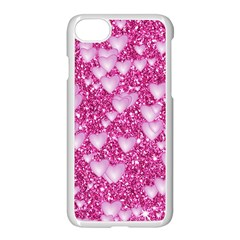 Hearts On Sparkling Glitter Print, Pink Apple Iphone 8 Seamless Case (white) by MoreColorsinLife