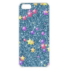 Stars On Sparkling Glitter Print, Blue Apple Iphone 5 Seamless Case (white) by MoreColorsinLife