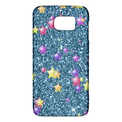 Stars On Sparkling Glitter Print, Blue Galaxy S6 by MoreColorsinLife