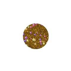 Stars On Sparkling Glitter Print,golden 1  Mini Buttons by MoreColorsinLife