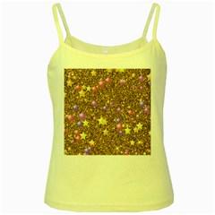 Stars On Sparkling Glitter Print,golden Yellow Spaghetti Tank by MoreColorsinLife
