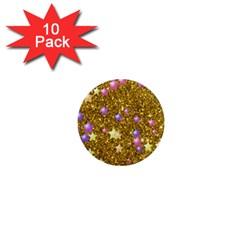 Stars On Sparkling Glitter Print,golden 1  Mini Magnet (10 Pack)  by MoreColorsinLife