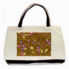 Stars On Sparkling Glitter Print,golden Basic Tote Bag by MoreColorsinLife