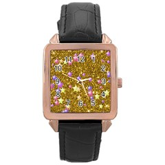 Stars On Sparkling Glitter Print,golden Rose Gold Leather Watch  by MoreColorsinLife