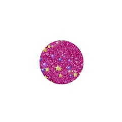 Stars On Sparkling Glitter Print,pink 1  Mini Buttons by MoreColorsinLife