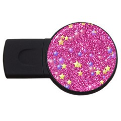 Stars On Sparkling Glitter Print,pink Usb Flash Drive Round (4 Gb) by MoreColorsinLife