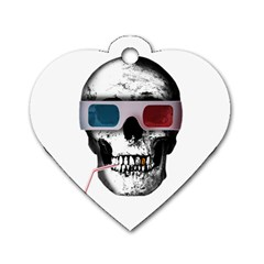Cinema Skull Dog Tag Heart (one Side) by Valentinaart