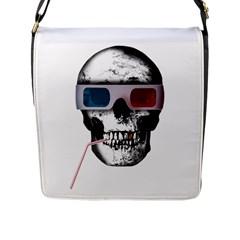 Cinema Skull Flap Messenger Bag (l)  by Valentinaart