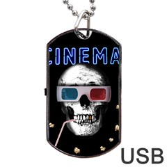 Cinema Skull Dog Tag Usb Flash (two Sides) by Valentinaart
