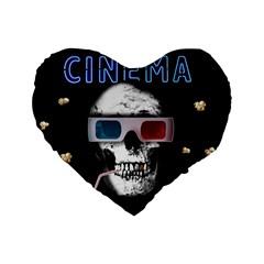 Cinema Skull Standard 16  Premium Flano Heart Shape Cushions by Valentinaart