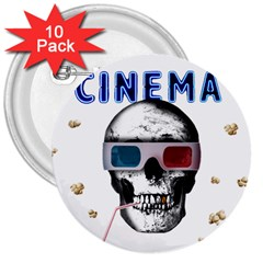 Cinema Skull 3  Buttons (10 Pack)  by Valentinaart