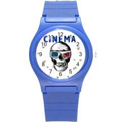 Cinema Skull Round Plastic Sport Watch (s) by Valentinaart