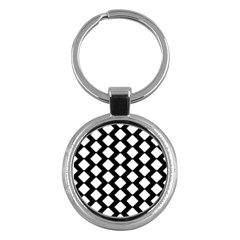 Abstract Tile Pattern Black White Triangle Plaid Key Chains (round)  by Alisyart