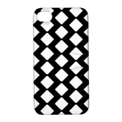 Abstract Tile Pattern Black White Triangle Plaid Apple Iphone 4/4s Hardshell Case With Stand by Alisyart