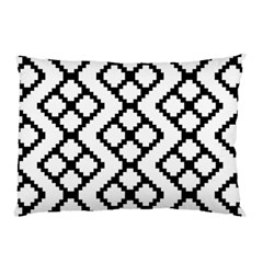 Abstract Tile Pattern Black White Triangle Plaid Chevron Pillow Case by Alisyart