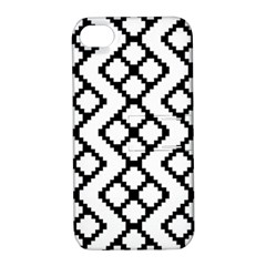 Abstract Tile Pattern Black White Triangle Plaid Chevron Apple Iphone 4/4s Hardshell Case With Stand by Alisyart