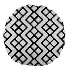 Abstract Tile Pattern Black White Triangle Plaid Chevron Large 18  Premium Flano Round Cushions by Alisyart