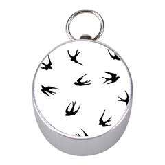 Black Bird Fly Sky Mini Silver Compasses by Alisyart