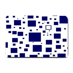 Blue Squares Textures Plaid Small Doormat  by Alisyart