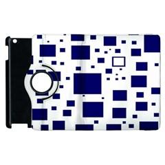Blue Squares Textures Plaid Apple Ipad 2 Flip 360 Case by Alisyart