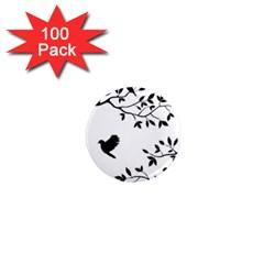 Bird Tree Black 1  Mini Magnets (100 Pack)  by Alisyart