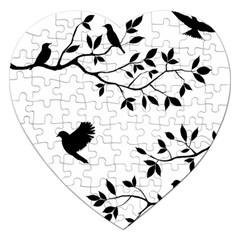 Bird Tree Black Jigsaw Puzzle (heart) by Alisyart