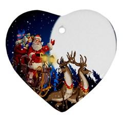 Christmas Reindeer Santa Claus Snow Night Moon Blue Sky Heart Ornament (two Sides) by Alisyart