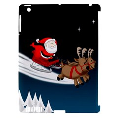 Christmas Reindeer Santa Claus Snow Star Blue Sky Apple Ipad 3/4 Hardshell Case (compatible With Smart Cover) by Alisyart