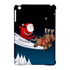 Christmas Reindeer Santa Claus Snow Star Blue Sky Apple Ipad Mini Hardshell Case (compatible With Smart Cover) by Alisyart