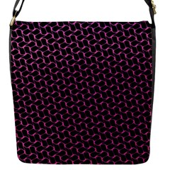 Twisted Mesh Pattern Purple Black Flap Messenger Bag (s) by Alisyart