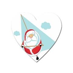 Christmas Santa Claus Paragliding Heart Magnet by Alisyart