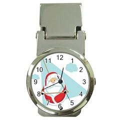 Christmas Santa Claus Paragliding Money Clip Watches by Alisyart
