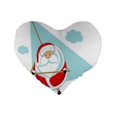 Christmas Santa Claus Paragliding Standard 16  Premium Flano Heart Shape Cushions by Alisyart