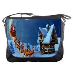 Christmas Reindeer Santa Claus Wooden Snow Messenger Bags by Alisyart