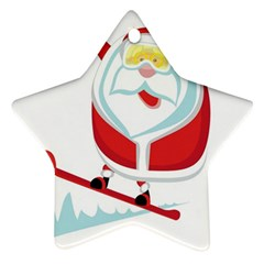 Christmas Santa Claus Playing Sky Snow Star Ornament (two Sides) by Alisyart