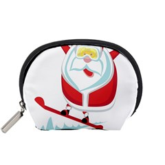 Christmas Santa Claus Playing Sky Snow Accessory Pouches (small)  by Alisyart