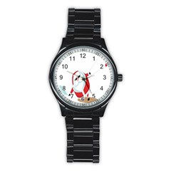 Christmas Santa Claus Snow Cool Sky Stainless Steel Round Watch by Alisyart