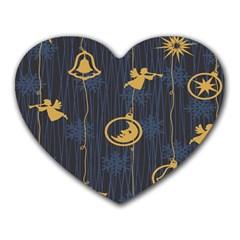 Christmas Angelsstar Yellow Blue Cool Heart Mousepads by Alisyart