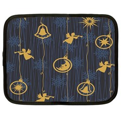 Christmas Angelsstar Yellow Blue Cool Netbook Case (large) by Alisyart