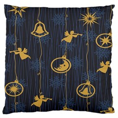 Christmas Angelsstar Yellow Blue Cool Large Cushion Case (two Sides) by Alisyart