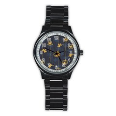 Christmas Angelsstar Yellow Blue Cool Stainless Steel Round Watch by Alisyart