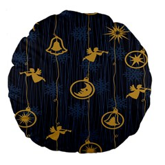 Christmas Angelsstar Yellow Blue Cool Large 18  Premium Flano Round Cushions by Alisyart