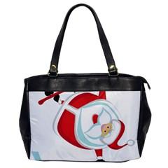 Christmas Santa Claus Snow Sky Playing Office Handbags by Alisyart