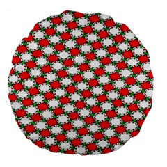 Christmas Star Red Green Large 18  Premium Flano Round Cushions by Alisyart