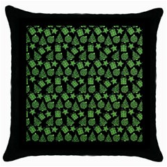 Christmas Pattern Gif Star Tree Happy Green Throw Pillow Case (black)