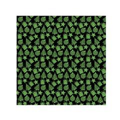 Christmas Pattern Gif Star Tree Happy Green Small Satin Scarf (square) by Alisyart