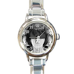 Beautiful Bnw Fractal Feathers For Major Motoko Round Italian Charm Watch by beautifulfractals