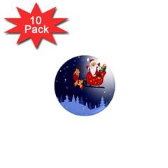 Deer Santa Claus Flying Trees Moon Night Merry Christmas 1  Mini Magnet (10 Pack)  by Alisyart
