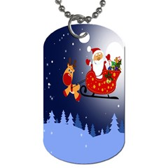 Deer Santa Claus Flying Trees Moon Night Merry Christmas Dog Tag (two Sides) by Alisyart